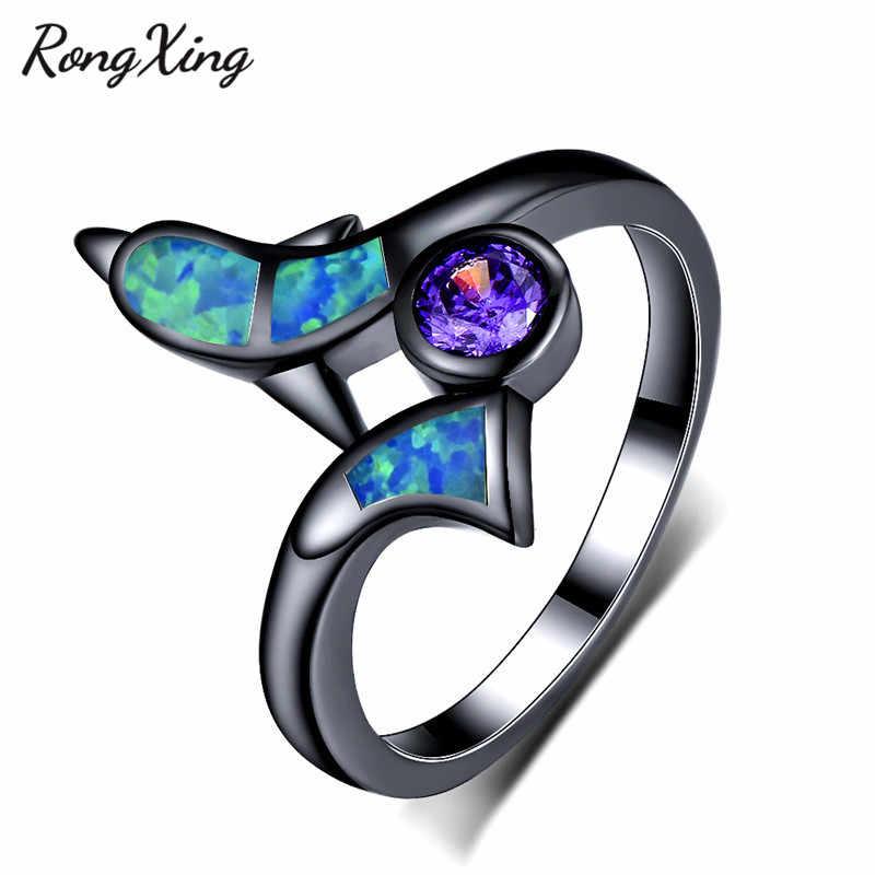 RongXing Xanh Cháy Opal Đáng Yêu Dolphin Nhẫn Đối Với Phụ Nữ Black Gold Filled Vòng Tím Zircon Birthstone Wedding Bands RB1410