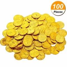 100 шт детские игрушки, пластиковые пираты, золотые монеты, сокровища в виде монет, игровая валюта, детский Декор для Хеллоуин-вечеринки, рождественские подарки