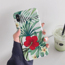 Summer flower scrub silicone soft case for iphone 7 8 stone texture case for iphone 8 7 6 6s plus xr x xs max floral leaves capa чехол обложка iphone 6s plus silicone case stone mkxn2zm a