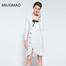 Famous brand Runaway 2018 Newest  Spring Fashion Long Sleeve Ebroidery Sequins 3D Flower Vintage Casual Ruffle Dress Women