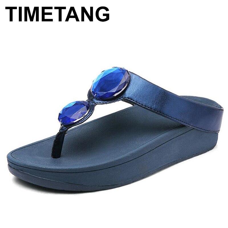 Women's Slippers Sandals Platform-Shoes Wedge-Heel Rhinestone Timetangflip-Flops Beach