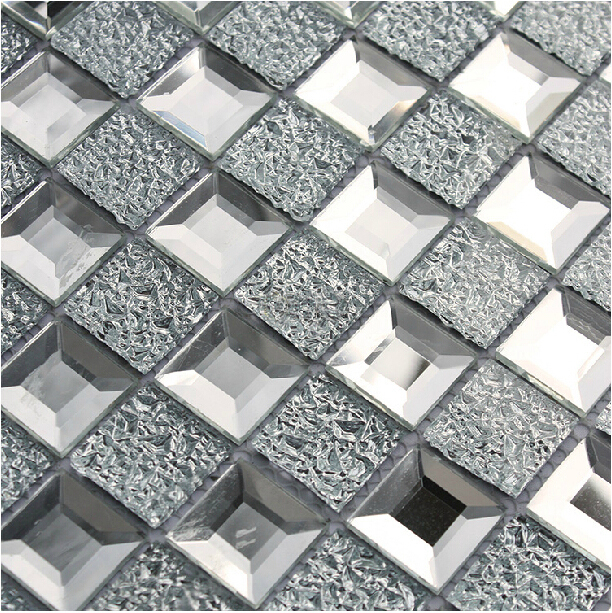 Mirrored glass mosaic tile 1x1 chips silver diamond shape
