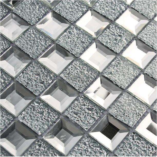 Mirrored glass mosaic tile 1x1 chips silver diamond shape kitchen backsplash  tiles mesh mounted 12x12 bathroom - Mirrored Glass Mosaic Tile 1x1 Chips Silver Diamond Shape Kitchen