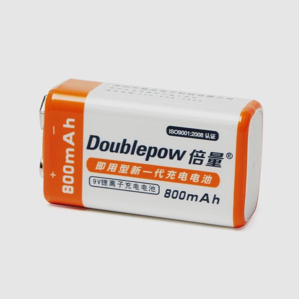 1 pz Doublepow 9 V 800 mAh Al Litio Li-Ion Ricaricabile 9 Volt LSD Bateria Recargable con 1200 Ciclo