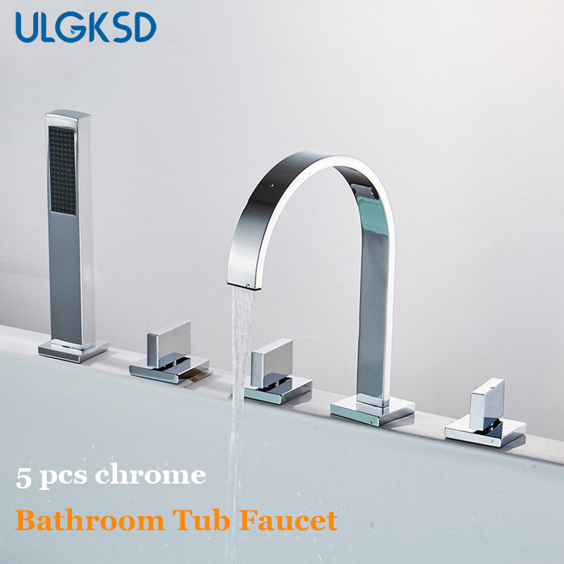 ULGKSD Bathtub Faucet Chrome Brass 5 PCS Hot and Cold Water Ceramic Mixer Tap Para Bathroom Shower Faucets W/ Hand Shower china sanitary ware chrome wall mount thermostatic water tap water saver thermostatic shower faucet
