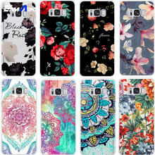 Black white red flower TPU Case For Samsung Galaxy Note 8 S5 S6 S7 Edge S8 S9 Plus A3 A5 A8 J1 J2 J3 J5 J7 2016 2017 2018 Prime(China)