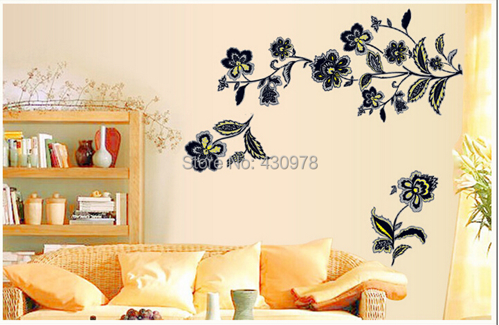 QZ1422 Free Shipping 1Pcs Aestheticism Flower Branch Butterfly <font><b>Elegant</b></font> Removable PVC Wall Stickers <font><b>Home</b></font> <font><b>Decoration</b></font> Gift