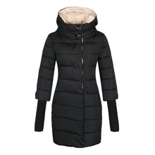 Women's Hooded Cotton-padded Jacket Lengthed Down Coat,Free Shipping