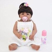55 см полный силиконовый корпус Reborn Baby Doll Игрушка Черный кожи новорожденных малышей жив Bebe кукла купаться игрушка для девочек bonecas Рождестве