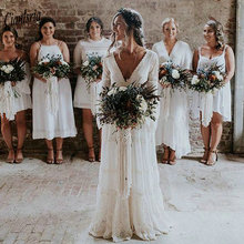 2020 Bohemian Country Wedding Dresses V Neck Long Sleeve Appliques Lace Backless Beach Boho Beach Plus Size Wedding Dress