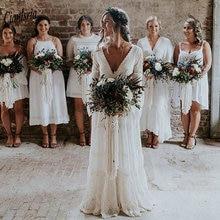 2020 boêmio país vestidos de casamento com decote em v manga comprida apliques rendas sem costas praia boho praia plus size vestido de casamento