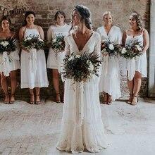 Vestidos de boda país bohemio manga larga con cuello en V Apliques de encaje sin espalda playa bohemio vestido de boda de talla grande 2020