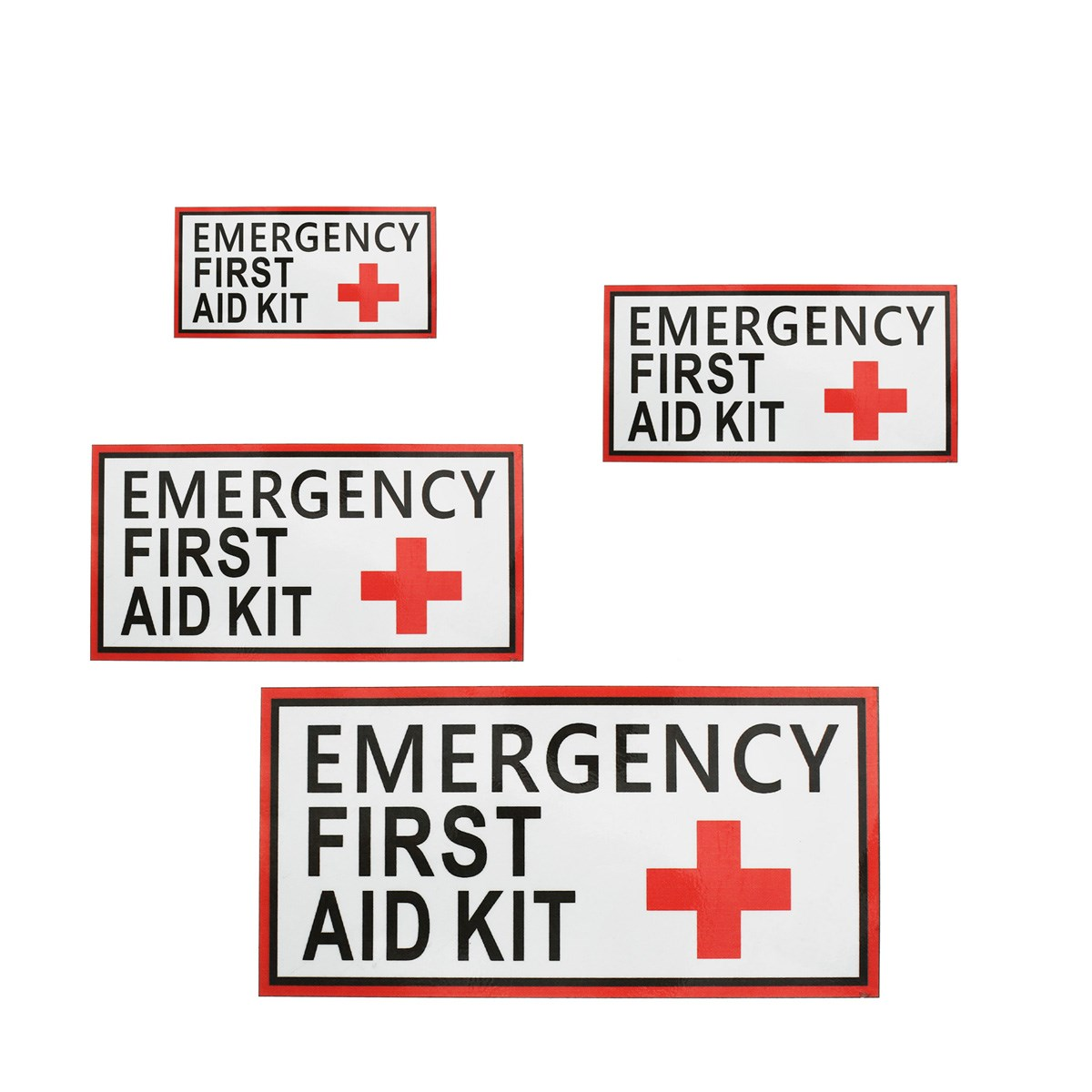 Outdoor 4 Size First aid Emergency Vinyl Sticker Waterproof Label Signs Red Cross Health sticker for outdoor camping hiking signs