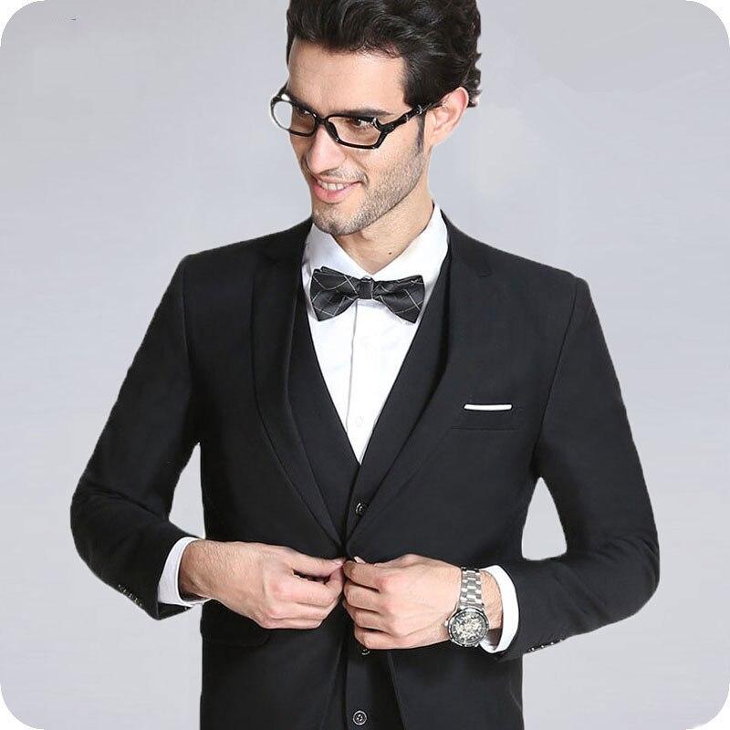 Black Men Suit For Wedding Bridegroom Business Blazer Prom Custom Made Tuxedo Slim Fit Formal Terno Masculino Groom Wear 3Pieces