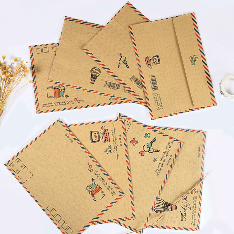 16 Pcs/lot Creative Retro Airmail Large Envelopes Paper Kraft Stationery Postcard Letter Envelopes Gift School Office Supplies