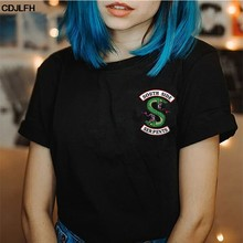 Summer Riverdale T Shirt Women Plus Size Fashion Tee SouthSide Serpents Jughead Female TShirt Harajuku Streetwear Black T-shirt(China)