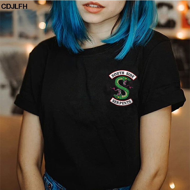 Summer Riverdale T Shirt Women Plus Size Fashion Tee SouthSide Serpents Jughead Female TShirt Harajuku Streetwear Black T-shirt