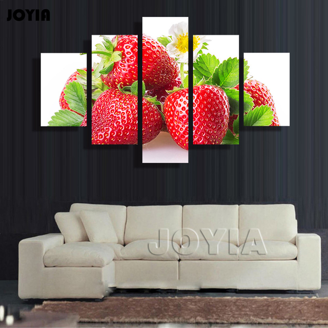 Multi Panel Canvas Wall Art 5 Pieces Red Strawberry Painting On ...