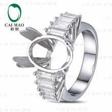 CaiMao Oval cut Semi Mount Ring Settings & 1.25 ct Diamond 18k White Gold Gemstone Engagement Ring Fine Jewelry