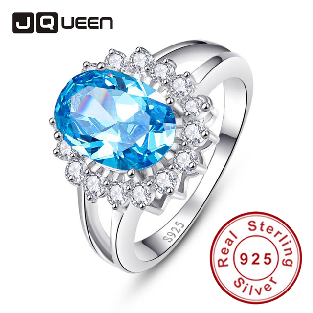 New Vintage Ocean Blue Topaz 925 Sterling Silver European Womens Princess Rings 4.97g Oval Pigeon Cocktail Party Ring Jewelry
