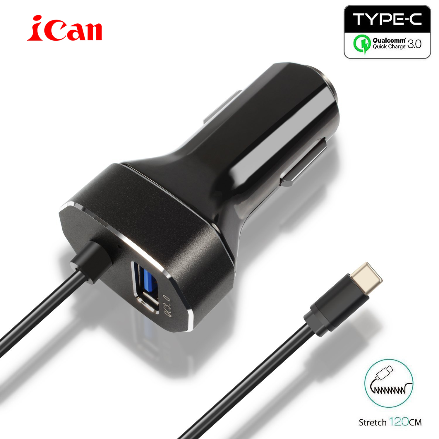 Ican car-charger 30W 2 Ports USB Type C Car Charger USB QC 3.0 Type-C USB Adapter Charging Cable for Samsung iPhone Galaxy S7 S6