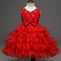 New Baby Dress for Girls 18 24 Months 4 6 8 Year Beaded Bow Cake Tutu Dresses for Party and Wedding 1 Years Birthday Dress 2C58A