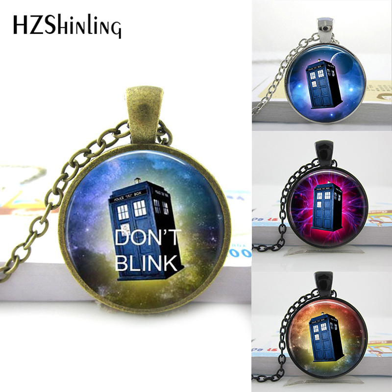 HZShinling Art Glass Pendant Doctor Who Tardis Space Necklace Doctor Police Box Jewelry Glass Cabochon Dome Pendant Gifts HZ1