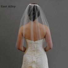 Veu De Noiva, однослойная свадебная вуаль белого цвета и цвета слоновой кости с гребнем, длина до локтя 30 дюймов, свадебная вуаль с простым краем