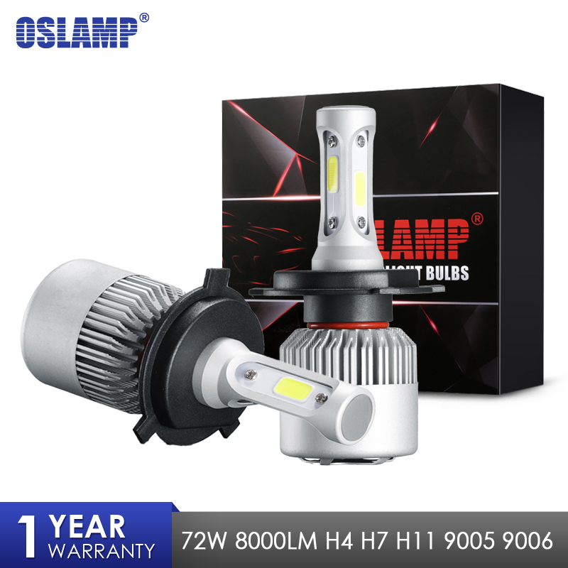 Oslamp S2 72W 8000LM Car LED Headlight Bulbs H4 Led Bulb H7 H11 H13 9005 9006 COB Chips Hi lo Beam Auto Lamp 12V 24V 6500k