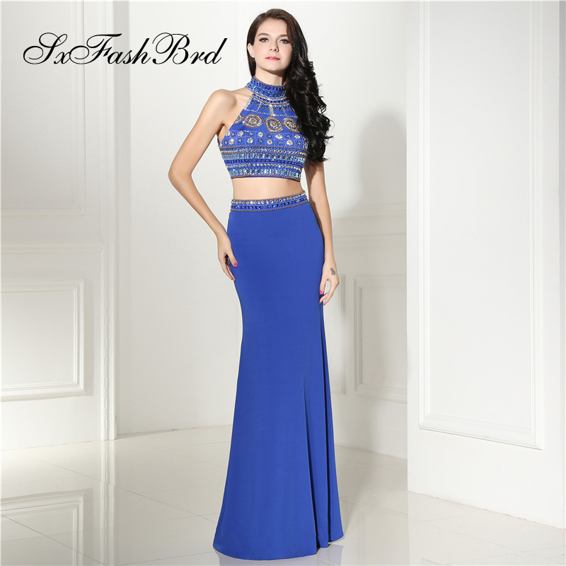 Robe Longue High Neck With Beading Crop Top Mermaid Long Formal Elegant   Dresses   for Women Evening Party 2 Two Pieces   Prom     Dress