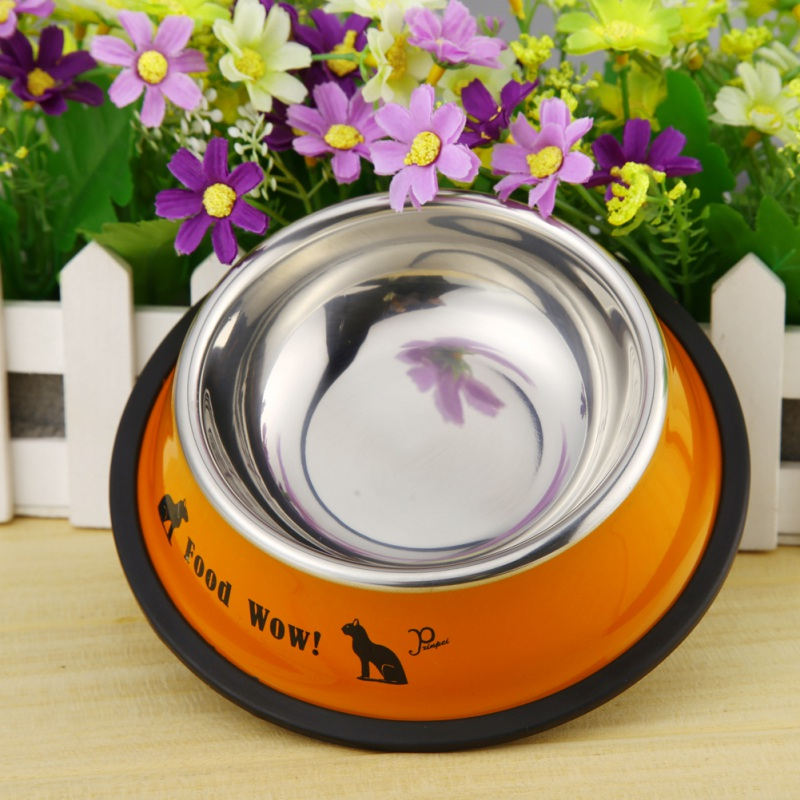 Cute Cartoon Pet Bowl Dry Food Bowls For Cats Dogs Drinking Water Fountain Pet Feeder Stainless Steel Bowl Durable And Non-toxic