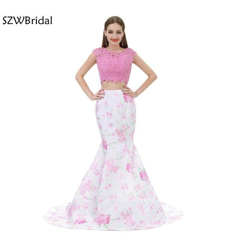 New Arrival Floral Print Two Piece   Prom     dresses   2019 Vestidos longos   Prom     dress   for graduation Evening Party vestido longo