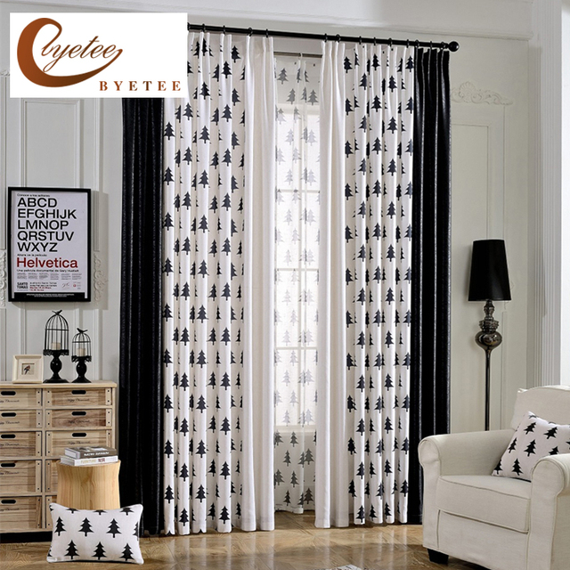 [byetee] Modern Kitchen Door Luxury Window Curtains Black For Living Room  Bedroom Cortinas Blackout