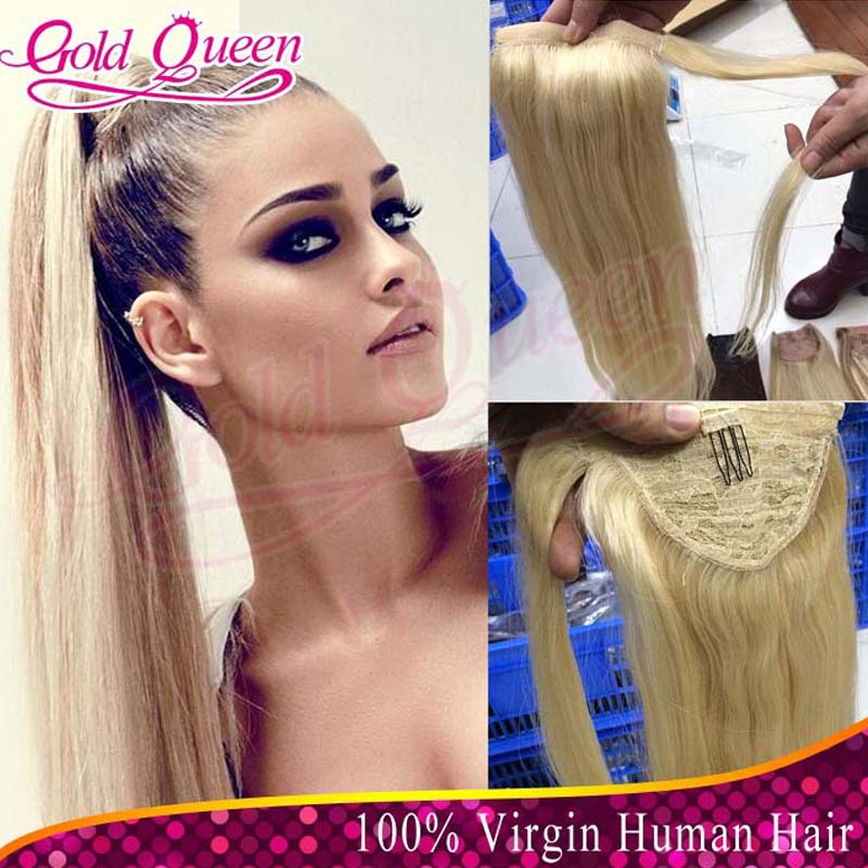 613 Human Hair Ponytail Extension 100gpiece Virgin Brazilian Clip