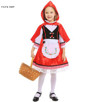 S XL Girls Little Red Riding Hood Cosplay Kids Children Halloween Anime Costume Carnival Purim Stage play Masquerade party dress