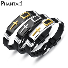 Fashion Cross Stainless Steel Bracelet Men Silicone Black WristBand Male Bracelet Cool Rubber Cuff Bracelet Man Punk Style NEW все цены