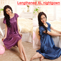 New Arrival Satin Sleepwear Fashion Home Apparel Round Collar Female Silk Nightgowns,Hot Sale Lace Short Sleeves Women Nightwear