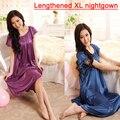 New Arrival Satin Sleepwear Fashion Home Apparel Round Collar Female Silk Nightgowns,Hot Sale Lace Short Sleeves Women Nightwear