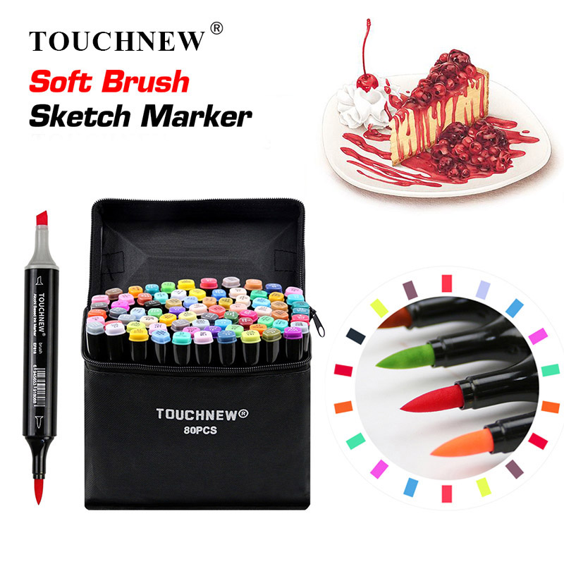 TOUCHNEW Soft Brush Markers Pen Set Sketch Dual Brush Markers Alcohol Based Markers Manga Drawing Animation Design Art SuppliesTOUCHNEW Soft Brush Markers Pen Set Sketch Dual Brush Markers Alcohol Based Markers Manga Drawing Animation Design Art Supplies