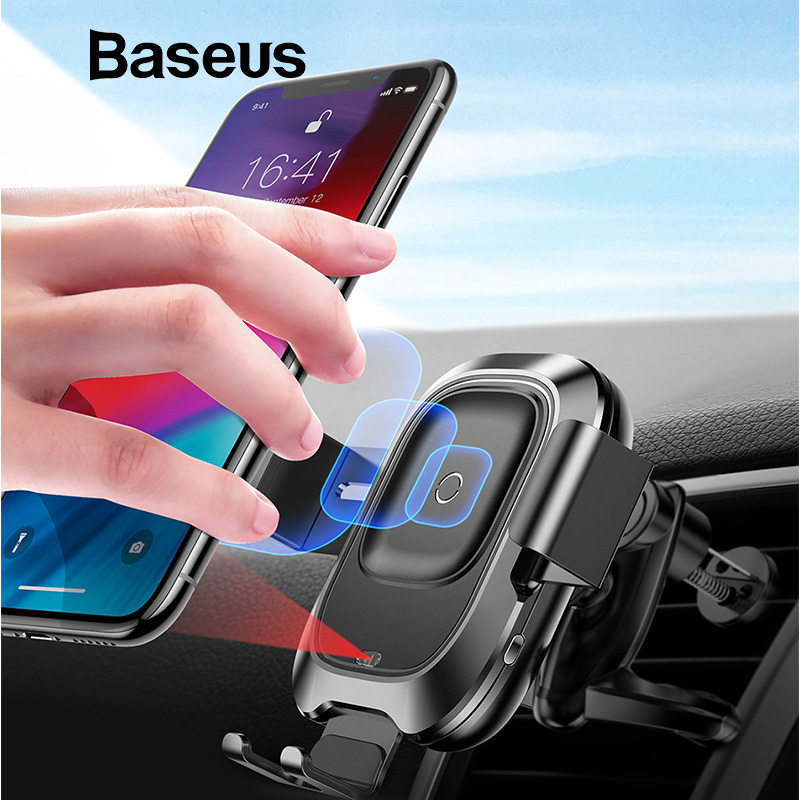 Soporte para teléfono de coche Baseus para iPhone Samsung inteligente infrarrojo Qi cargador inalámbrico para coche soporte de soporte para teléfono móvil