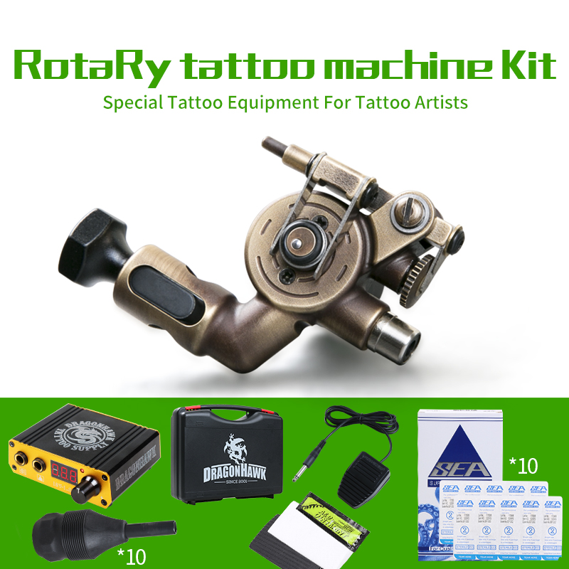 Professional Tattoo Kit Rotary Machine Power Box Grips Body Arts Cartridge Needles Tips Tattoo Set Supplies