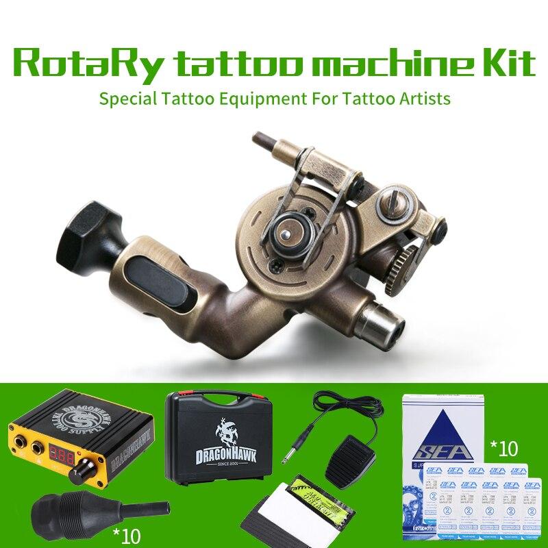 Professional Tattoo Kit Rotary Machine Power Box Grips Body Arts Cartridge Needles Tips Tattoo Set SuppliesProfessional Tattoo Kit Rotary Machine Power Box Grips Body Arts Cartridge Needles Tips Tattoo Set Supplies