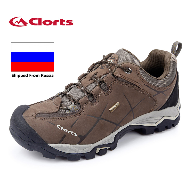 Shipped From Russia Clorts Men Hiking Shoes Genuine Leather Non-slip Outdoor Trekking Shoes Waterproof Sport Sneakers HKL-805A