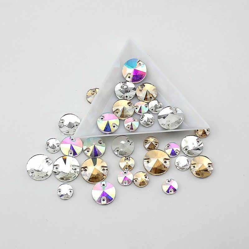 8mm-16mm okrągły kryształ AB kolor srebrna podstawa przyszyć koraliki z kryształu górskiego, szyć na kamienie Spacer przyciski do odzieży biżuteria 30-100 sztuk