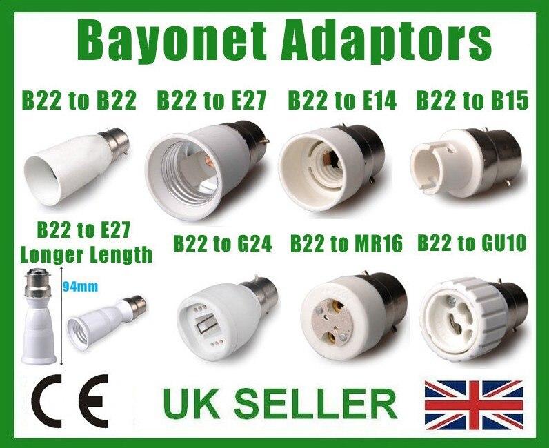 LAMP LIGHT ADAPTOR BC B22 ES E27 E14 SES B15d SBC E40 GES GU10 G9 MR16 G24 E26