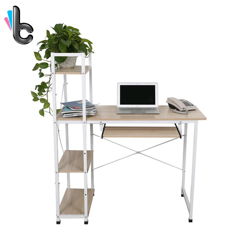 wooden office table computer desk workstation diy s shape home pc study table office furniture hot sale Computer Desk PC Laptop Table with Shelves Home Study Office Furniture