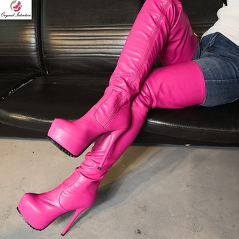 Original Intention Hot Women Over the Knee Boots Round Toe Zipper Slim High Heels Boots Fashion Woman Shoes Plus Size 4-20