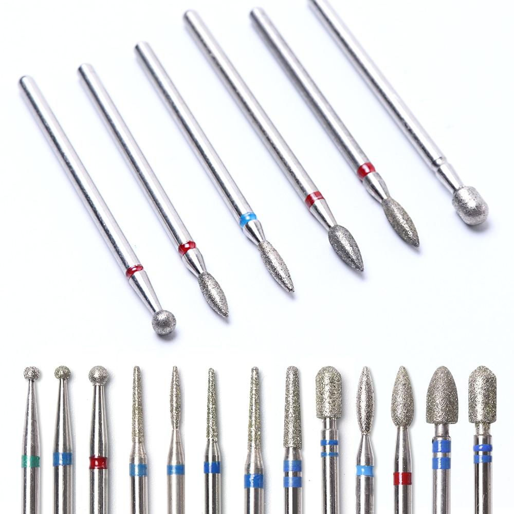 6pcs Diamond Cutters For Manicure Nail Drill Bits Rotary Burr Milling Files Mill Ball Brush Electric Grinder Corundum Tools BEJG