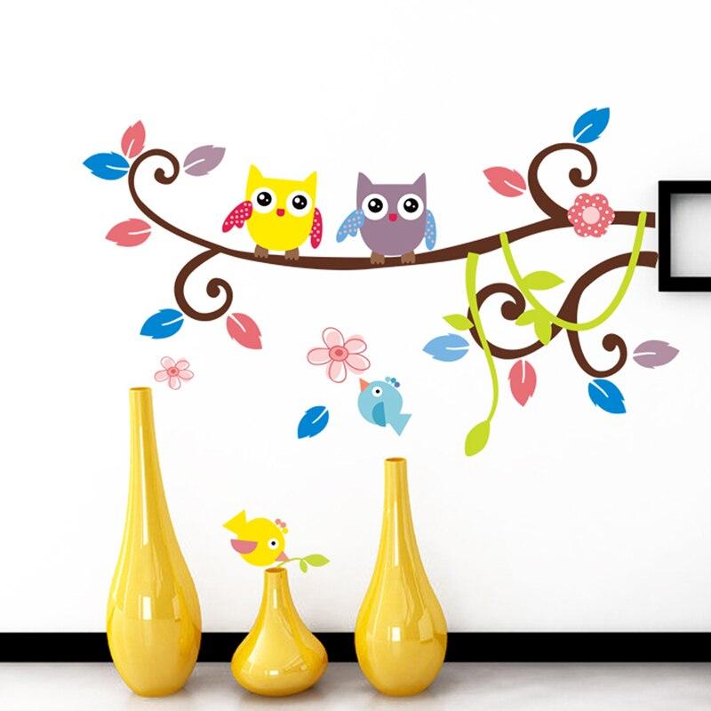 Sovy na stromech Fototapety Děti Pokoje Domácí Dekorace Vinylové Vinylové Samolepky Ptáci Květiny Samolepka