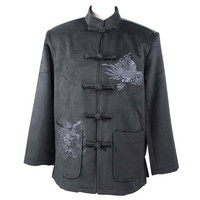 Hot New Black Chinese Male Velour Thick Coat Vintage Embroidery Jacket Single Breasted Tang Suit Size M L XL XXL XXXL WN030
